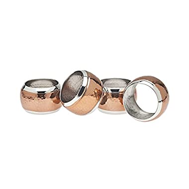 Godinger Hammered Napkin Ring, Set of 4, Copper