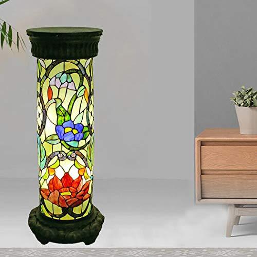 Lámpara de pie Tiffany, lámpara de lectura de columna romana de 30 pulgadas con pantalla de cristal de loto, lámpara de decoración de la sala de estar del dormitorio, acabado frotado con aceite, E27