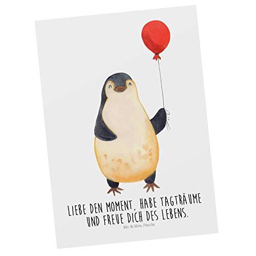 Mr. & Mrs. Panda Ansichtskarte, Grußkarte, Postkarte Pinguin Luftballon mit Spruch - Farbe Weiß