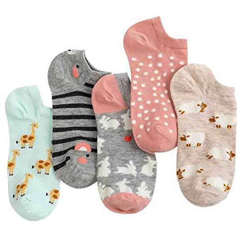 5 par/Set Calcetines de Mujer Lindos Animales Calcetines Cortos de algodón Calcetines Divertidos Casuales Femeninos Primavera Verano calcetín Sokken-Animal Style 5