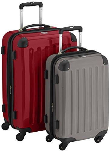 HAUPTSTADTKOFFER - Alex - 2er Koffer-Set Hartschale glänzend, 65 cm + 55 cm, 74 Liter + 42 Liter, Rot-Graphit