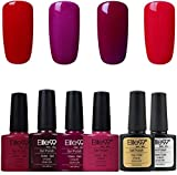 Elite99 Esmalte Semipermanente UV LED 6pcs Kit Uñas de Gel Pintauñas con Base y Top Coat...