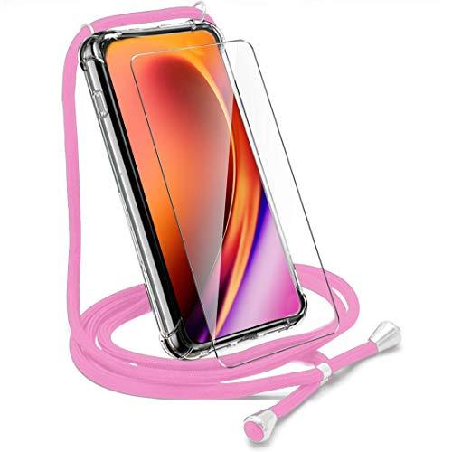 Hülle + Schutzfolie Panzerglas für Huawei Nova 5T -Clear Schutzhülle TPU Handytasche Tasche Verstärkung an Vier Ecken Blau Necklace Hülle Case mit Kordel zum Umhängen in Bordeauxrot-Pink