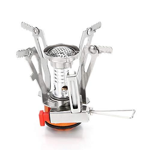 TZTED Estufa de Camping Gas Plegable, Quemador Portátil de Cocina para Cocinar al Aire Libre Camping Picnic Mochilero Senderismo,Metálico