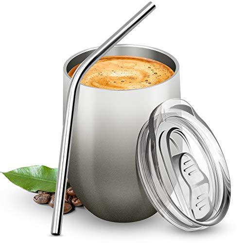 BICASLOVE Termo Taza Cafe 12oz/354ml,Botella de Agua Acero Inoxidable,Reutilizable,Botella Termica sin BPA,con Paja y Cepillo,para Hogar,Vino,Cafe