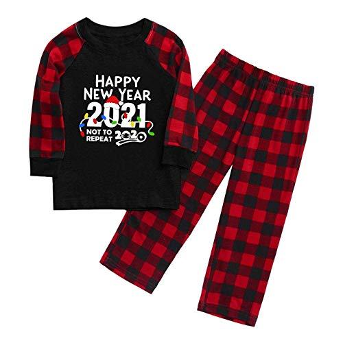 BIBOKAOKE Conjunto de pijama de Navidad 2021, pijama familiar de manga larga, ropa de casa, dos piezas, diseño de dibujos animados, conjunto para mamá, papá y niños Niño. 5 años