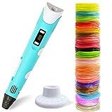 MONOJOY 3D Stift,3D Druck Stift für Kinder Scribble Zeichnung Drucker Stift mit PLA 20 Farben Filamente für Kinder, Erwachsene, Kritzelei, malen und 3D drücken DIY Kit für Kreatives Zeichenspielzeug