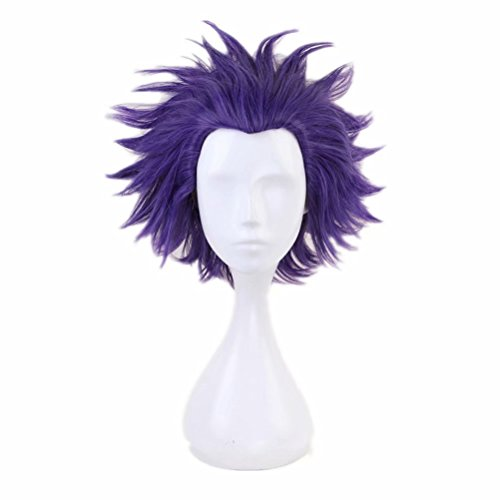 COSPLAZA Cosplay Wigs Short Blue/Purple Slick Black Men Boy Cosplay Costume Wig Thick Hairs