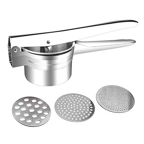 Selaurel Stainless Steel Potato Ricer Masher Manual Heavy Duty Food Presser Ricer Baby Food Strainer with 3 Pieces Interchangeable Ricing Discs for Potatoes Fruits Vegetables Pumpkin Lemon Juicer