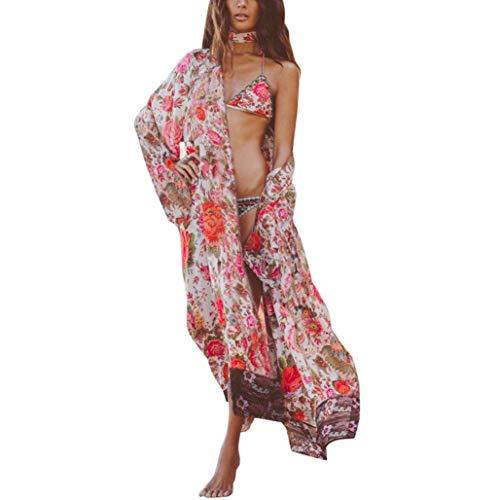 HX fashion Vest Dames Elegant Chiffon Overhemdjurk Comfortabele Maten Lente Gedrukt Patroon Lange Mouw Strand Lange Jassen Dunne Losse Bedekking