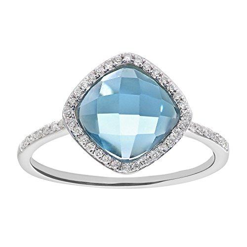 Naava Women's 9 ct White Gold Diamond and 2.65ct Cushion Cut Blue Topaz Gemstone Ring - Size K