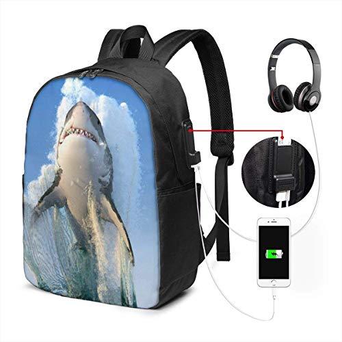 Dieren Zee Haai Springen Waterdichte Laptop Rugzak met USB Opladen Poort Hoofdtelefoon Past 17 Inch Laptop Computer Rugzakken Reizen Daypack School Tassen voor Mannen Vrouwen