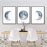 Rjunjie Mondphasen Poster drucken Vollmond Halbmond Wand Kunst Leinwand Gemälde Nachthimmel Raum Galaxy Astronomie Bilder Wand Dekor (40 x 60 x 3 Stück cm ohne Rahmen)