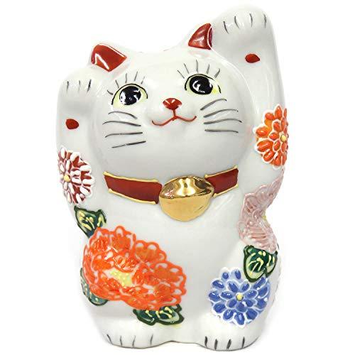 開運 置物 九谷焼 両手招き猫 花づくし 陶器 商売繁盛 アイテム 風水 グッズ