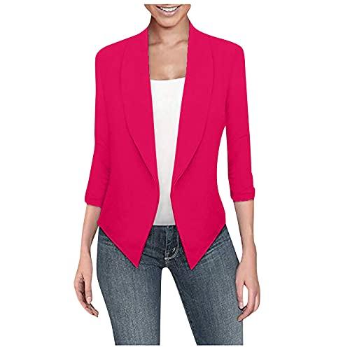 CYGGA Elegante blazer para mujer, monocolor, corte ajustado, solapa, para oficina, vestido, bolero para negocios, sin bolsillos, sin botones Rosa. 4X-Large