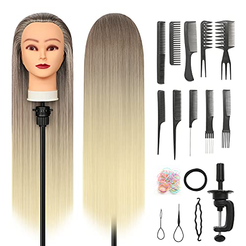 Cabeza Peluqueria, 28 inch 100% Sintético Cabeza Peluqueria Cabeza Maniqui peluqueria con Soporte + Accesorios de Peinado DIY (Dorado)