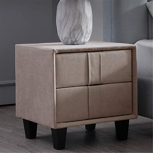 YonCog Corner table Fabric Bedside Table Bedroom Simple Modern Storage Two Drawer Cabinet Bedside Table with Storage (Color : D, Size : One size)