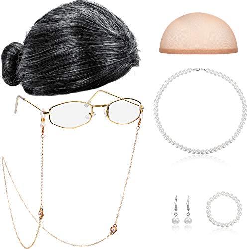 Gejoy Set Cosplay della Nonna Parrucca della Nonna Occhiali da Nonna Collana con Perline a Catena in Perle Sintetiche (Parrucca Panino Bianco Nero)