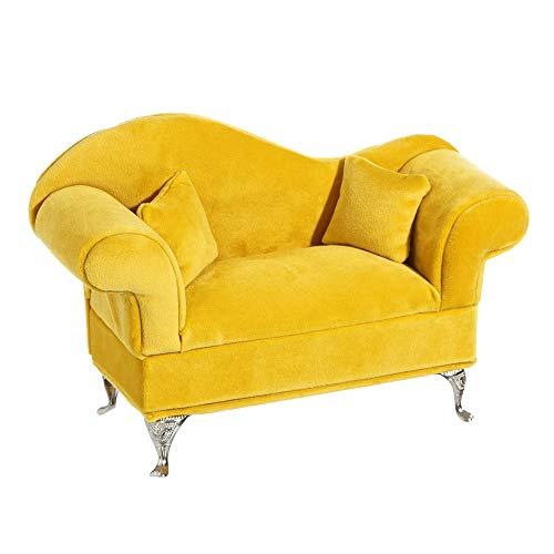 Sofá joyero tapizado en Terciopelo Amarillo Vintage para Dormitorio - LOLAhome