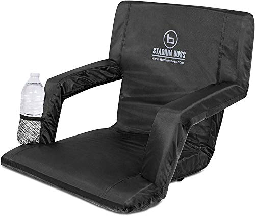 Stadium Boss Seat Reclining Bleacher Chair Folding with Back and Arms – Padded Sport Chair Armrest Recline - Perfect for Bleachers Lawns and Backyards – Supports Your Back – Shoulder Straps Cushion