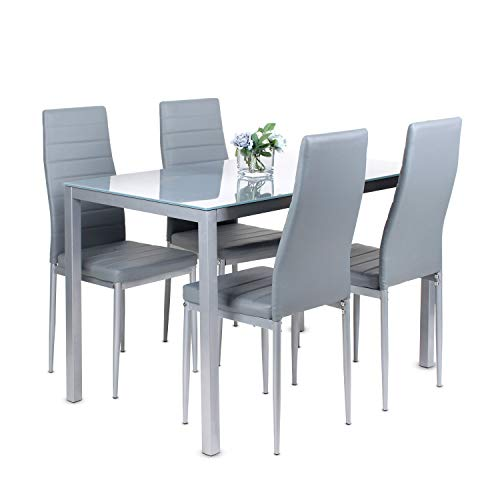 Dining Table and Chairs Set of 4,Glass Grey Kitchen Table and 4 Faux Leather Padded Chairs Kitchen Dining Table Set