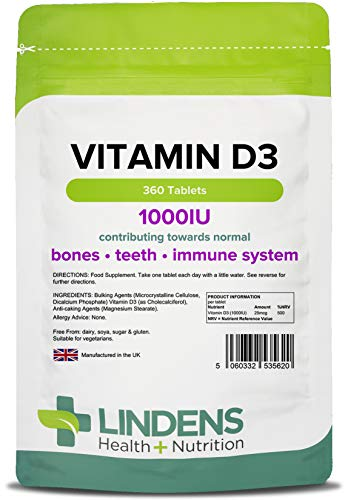 Lindens Vitamin D3 1000IU Tablets   360 Pack   Potent 500% Nrv Dose Contributes to Healthy Bones, Teeth, Muscle & Immune Function