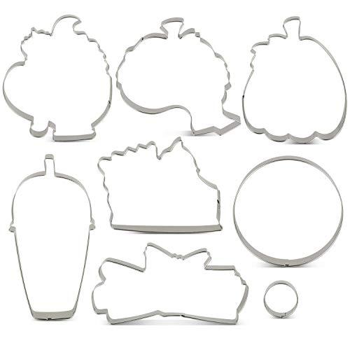 KENIAO zestaw foremek do wykrawania ciastek na jesień/jesień - 8 sztuk - dynia, dynia przyprawy latte, plasterki do ciasta, pączki, wysoka dynia i cynamon - stal nierdzewna - od Janka