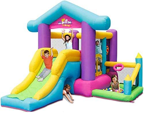 SCJ Castillos inflables para niños Tobogán para niños Patio de Juegos para niños pequeños al Aire Libre Trampolín para el hogar Colores del Parque Infantil 370 * 305 * 250cm
