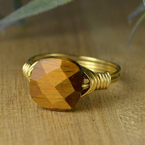 Yellow Rectangular Faceted Golden Brown Tigers Eye Gemstone and Sterling Silver Custom Made to Size 4-14 or Rose Gold Filled Wire Wrapped Ring
