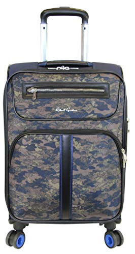 Robert Graham Men's Softshell Spinner Luggage Expandable 8 Wheel Easy Glide, Navy Camo, One Size