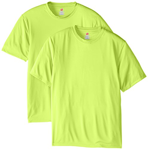 Hanes Men's Short Sleeve Cool DRI T-Shirt UPF 50+, Safety Green, X-Large (Pack of 2)