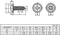 100ピュアマルチ仕様クロスラウンドヘッド付き洗濯機セルフタッピングスクリューM1.7 M2 M2.3 M2.6 M3 M4炭素鋼プラスネジ(色:12mm、サイズ:M3) 互換性 (Color : 12mm, Size : M3)