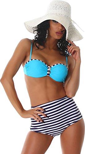 PF-Fashion Damen Push-Up Bikini Träger Uni Maritim Bandeau Vintage Retro Marine High-Waist Slip gestreift Türkis 32/34