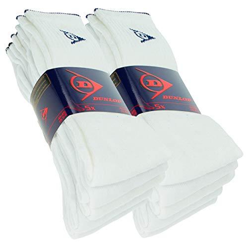 Dunlop 10 Paar Sportsocken, mittlere Wadenhöhe, Frottierfuß, ausgezeichnete Baumwollqualität (Weiß, 41-45)