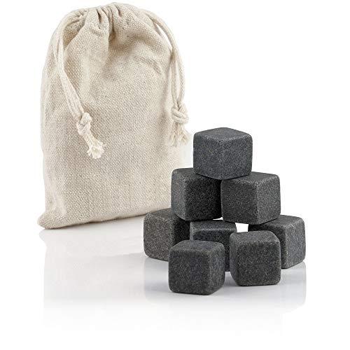 Mahlzeit Whisky Steine Set (8 Stück) | Whiskey Steine aus Basalt | Kühlwürfel für Getränke, wiederverwendbare Eiswürfel, Whisky stones, Kühlsteine für Whisky