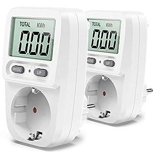 Zaeel Medidor de consumo de corriente del medidor de energía,Medidor de Consumo de Energía eléctrica con pantalla LCD,protección contra sobrecarga,Costos de Electricidad3680W