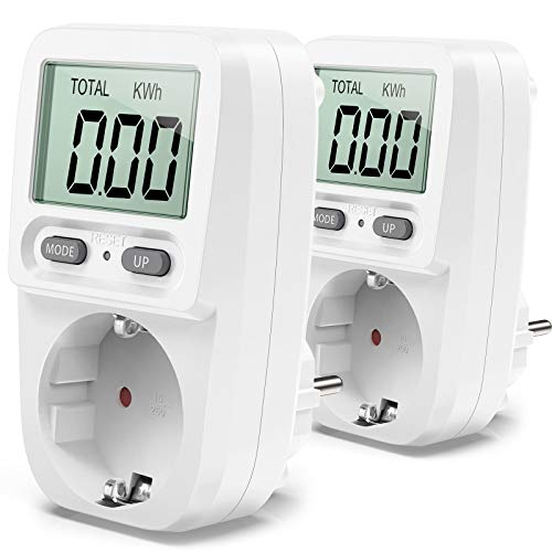Zaeel Energiekostenmessgerät,Stromkostenmessgerät Leistungsmessgerät Energiekosten-Messgerät mit LCD Bildschirm, Überlastsicherung, Maximale Leistung 3680W