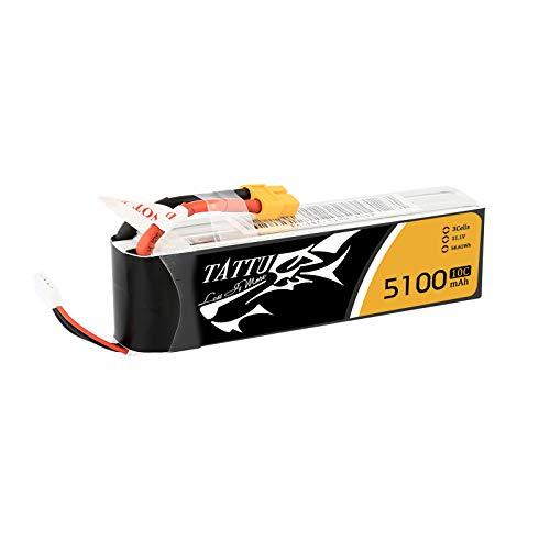 TATTU 5100mAh 11.1V 10C 3S1P Lipo Pack Akku mit XT60 Stecker für UAV Drohne FPV Rennen RC Quadrocopter wie 3DR Iris +
