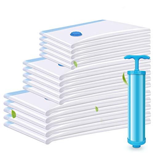 EWEIMA 15 Stück 3 Größen Vakuumbeutel Aufbewahrungsbeutel, Reise Vakuum Kompressionsbeutel, Vakuumbeutel Kleiderbeutel für Kleidung Bettdecken Bettwäsche Kissen mit Staubsauger Handpumpe