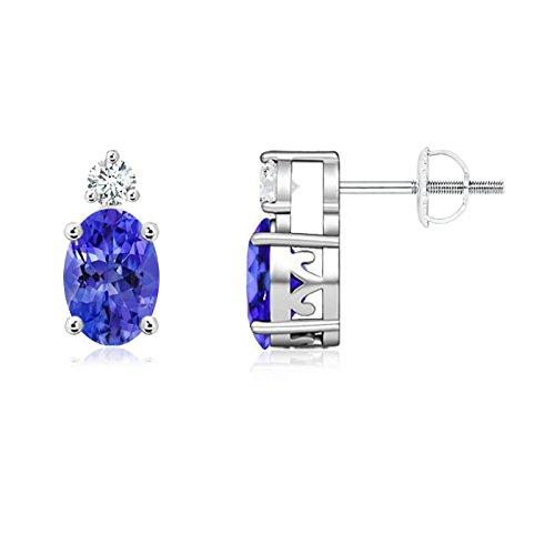 Juego de oferta–Cesta de Navidad Oval Tanzanite Stud Pendientes para mujeres con diamantes