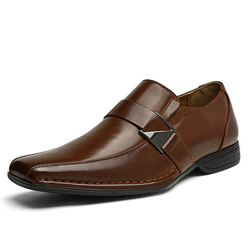Bruno Marc Men's Giorgio-3 Brown Leather Lined Dress Loafers Shoes - 9 M US