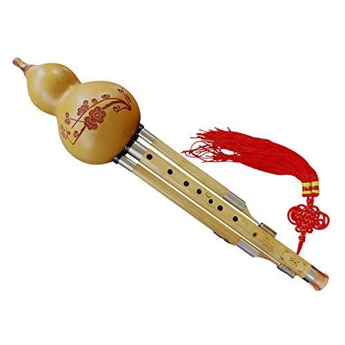 Interact China Flauta Hulusi de Bambú para 3 Octavas, 9 Agujeros, 13 Notas Instrumento de Viento-Madera Professional con Caso y Manual del Usuario 113