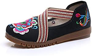 Mix Style Fashion Women's Shoes Old Peking Flat Heel Denim Flats with Embroidery Soft Sole Casual Shoes Size