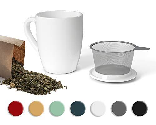 SECRET DE GOURMET Tetera con infusor de cerámica – Taza de té con infusor y tapa – Infusor de té de porcelana para una persona – 320 ml