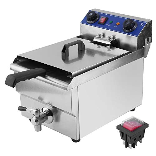 Civigrape 13L Electric Deep Fryer with Basket & Lid, Countertop Kitchen Frying Machine, Stainless Steel French Fryer for Turkey, French Fries, Donuts and More, 1.65KW 50Hz 110V