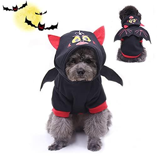 Disfraces de Mascotas de murciélagos de Halloween con alas,Disfraz De Mascota De Halloween,Disfraz para Perro,para Perros pequeños o Gatos Disfraz de Fiesta de Halloween para Mascotas (Murciélago)
