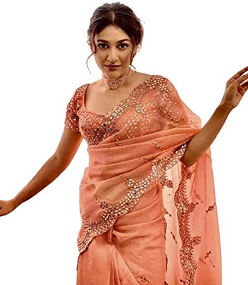 Indian BHAVYA FASHION Beautiful Hevy Organza Silk With Full Mirror Work LENGTH Saree with C Pallu Embroidery and Blouse With Fron... Saree