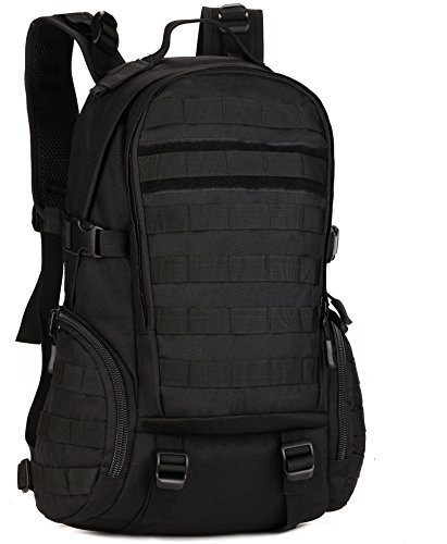 DCCN 25L Taktischer Rucksack Militär Wanderrucksack Molle Daypack mit Regenhülle für Outdoor Wandern Camping Reisen (Schwarz)
