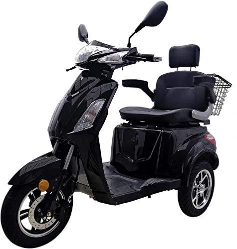 "Elektromobil ""VITA CARE 1000"", 25 km/h, herausnehmbarer 60V/20Ah Lithium-Akku (9kg), Straßenzulassung, Scheibenbremse, Seniorenmobil, 60 km Reichweite, Senioren Elektromobil, Produktvideo, Schwarz"