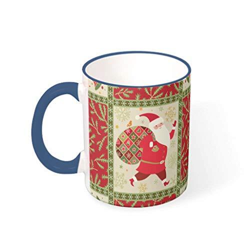 O4EC2-8 11 Oz Christmas Flower Wasser Kaffee Becher Tasse mit Griff Glatte Keramik Personal Tasse, Wohnheim verwenden Midnight Blue 330ml